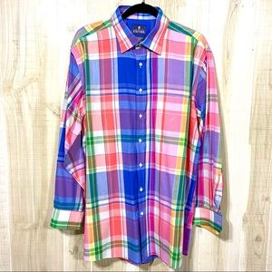 Stafford Tailored Easy Care Shirt Plaid Size 17.5